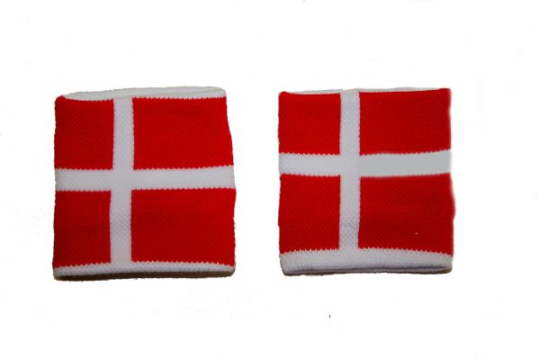 DENMARK COUNTRY FLAG WRISTBAND SWEATBAND .. HIGH QUALITY .. NEW AND IN A PACKAGE