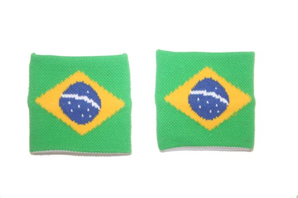 BRASIL COUNTRY FLAG WRISTBAND SWEATBAND .. HIGH QUALITY .. NEW AND IN A PACKAGE