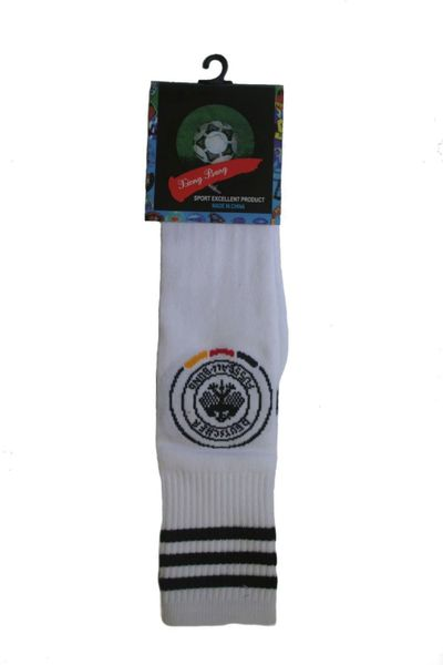 GERMANY WHITE DEUTSCHER FUSSBALL - BUND LOGO FIFA WORLD CUP SOCKS .. HIGH QUALITY ..KID'S SIZE : AGES 6 - 10 YRS .. NEW AND IN A PACKAGE