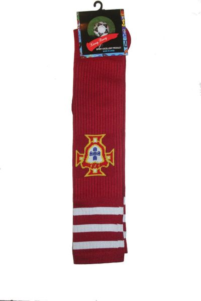 PORTUGAL RED FPF LOGO FIFA WORLD CUP SOCKS .. ADULT SIZE ..HIGH QUALITY ..NEW AND IN A PACKAGE