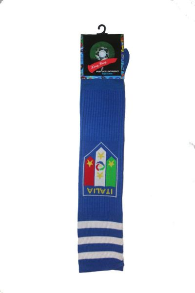 ITALIA ITALY BLUE FIGC LOGO FIFA WORLD CUP SOCKS .. ADULT SIZE .. HIGH QUALITY ..NEW AND IN A PACKAGE