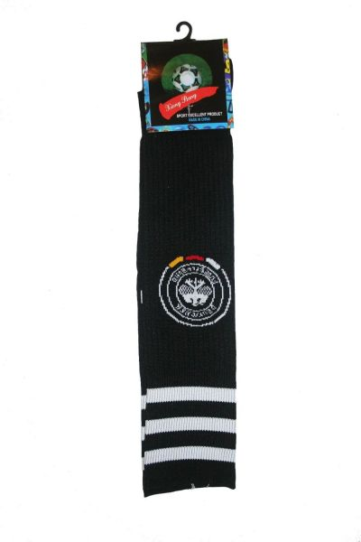 GERMANY BLACK DEUTSCHER FUSSBALL - BUND LOGO FIFA WORLD CUP SOCKS .. ADULT SIZE .. HIGH QUALITY ..NEW AND IN A PACKAGE