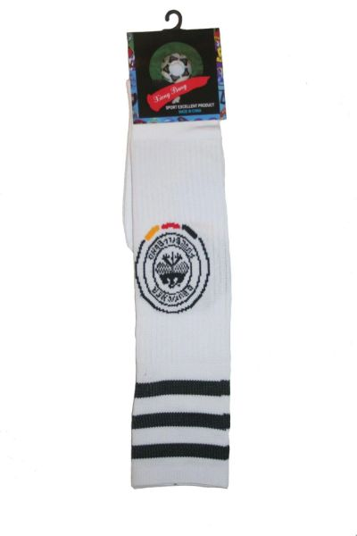 GERMANY WHITE DEUTSCHER FUSSBALL - BUND LOGO FIFA WORLD CUP SOCKS .. ADULT SIZE .. HIGH QUALITY ..NEW AND IN A PACKAGE