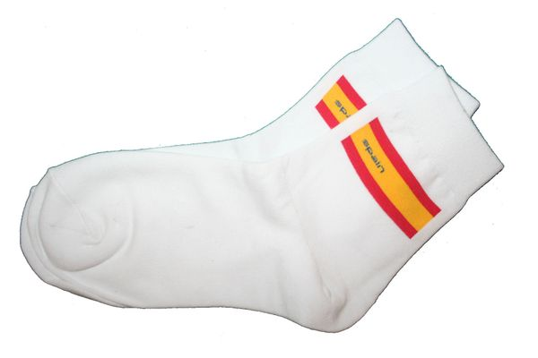 SPAIN WHITE COUNTRY FLAG DRESS SOCKS .. HIGH QUALITY .. NEW AND IN A PACKAGE