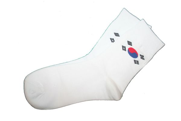 SOUTH KOREA WHITE COUNTRY FLAG DRESS SOCKS .. HIGH QUALITY .. NEW AND IN A PACKAGE