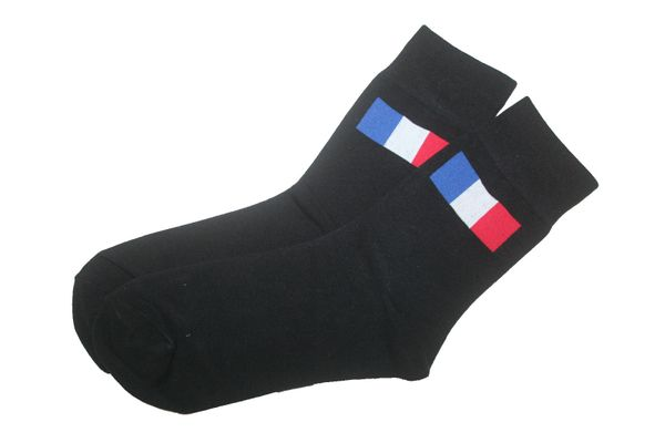 FRANCE BLACK COUNTRY FLAG DRESS SOCKS .. HIGH QUALITY .. NEW AND IN A PACKAGE