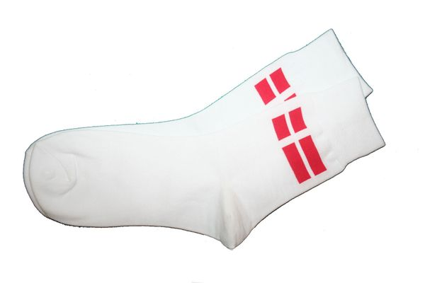 DENMARK WHITE COUNTRY FLAG DRESS SOCKS .. HIGH QUALITY ..NEW AND IN A PACKAGE