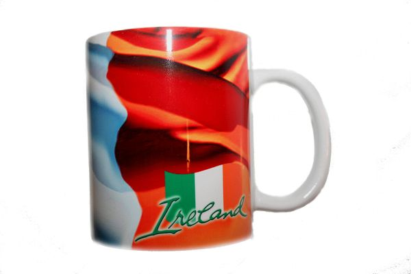 IRELAND COUNTRY FLAG CERAMIC COFFEE MUG CUP .. HIGH QUALITY .. NEW AND IN A PACKAGE