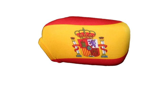 SPAIN COUNTRY FLAG CAR SIDE MIRROR COVERS 2 IN A PACK .. HIGH QUALITY .. NEW AND IN A PACKAGE