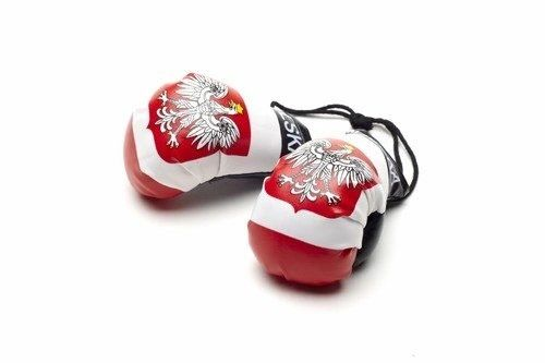 POLAND WITH EAGLE COUNTRY FLAG MINI BOXING GLOVERS .. HIGH QUALITY .. NEW AND IN A PACKAGE