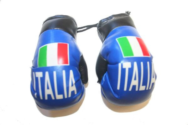 ITALIA ITALY BLUE COUNTRY FLAG MINI BOXING GLOVERS .. HIGH QUALITY .. NEW AND IN A PACKAGE