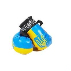 UKRAINE WITH TRIDENT COUNTRY FLAG MINI BOXING GLOVERS .. HIGH QUALITY .. NEW AND IN A PACKAGE