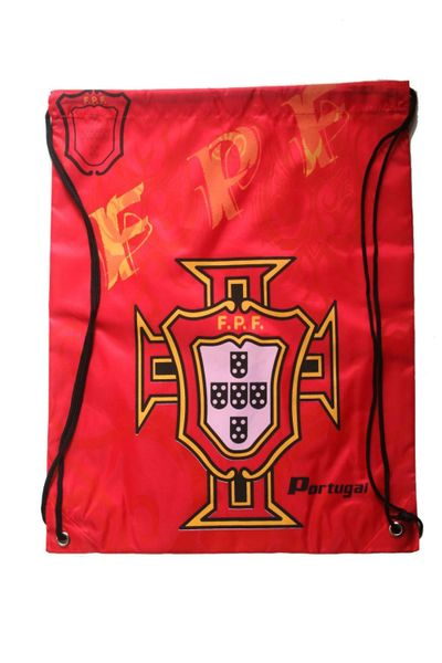 """PORTUGAL RED FPF LOGO FIFA WORLD CUP DRAWSTRING KNAPSACK BAG .. 13"""" X 17"""" INCHES .. HIGH QUALITY ..NEW AND IN A PACKAGE"""