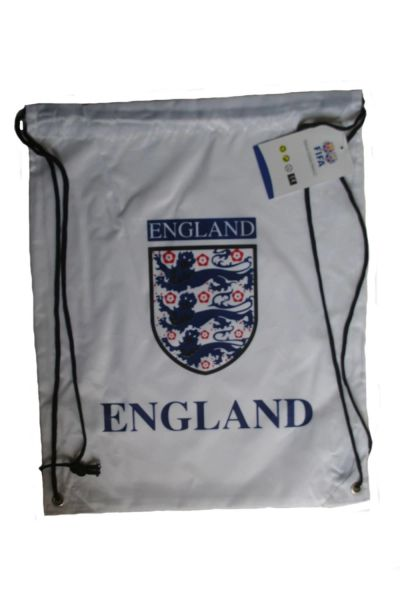 """ENGLAND WHITE ,3 LIONS & BLUE TITLE DRAWSTRING KNAPSACK BAG .. 13"""" X 17"""" INCHES .. HIGH QUALITY ..NEW AND IN A PACKAGE"""