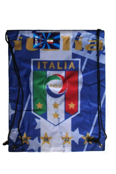 "ITALIA ITALY BLUE WHITE FIGC LOGO FIFA WORLD CUP DRAWSTRING KNAPSACK BAG .. 13"" X 17"" INCHES .. HIGH QUALITY ..NEW AND IN A PACKAGE"