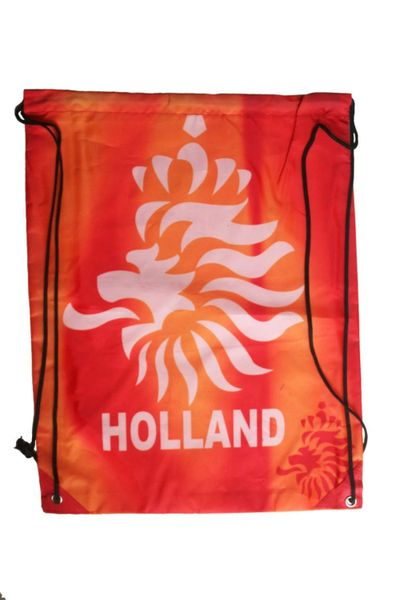"HOLLAND NETHERLANDS ORANGE KNVB LOGO FIFA WORLD CUP DRAWSTRING KNAPSACK BAG .. 13"" X 17"" INCHES .. HIGH QUALITY ..NEW AND IN A PACKAGE"