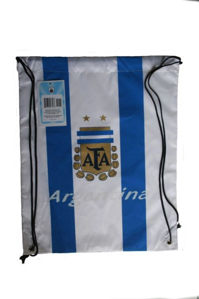 """ARGENTINA WHITE TITLE AFA LOGO FIFA WORLD CUP DRAWSTRING KNAPSACK BAG .. 13"""" X 17"""" INCHES .. HIGH QUALITY ..NEW AND IN A PACKAGE"""