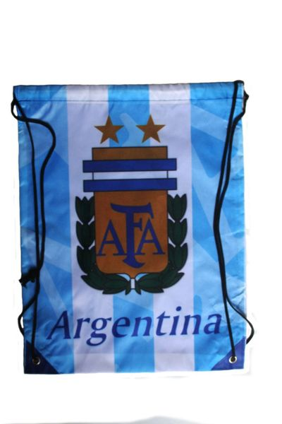 "ARGENTINA BLUE TITLE AFA LOGO FIFA WORLD CUP DRAWSTRING KNAPSACK BAG .. 13"" X 17"" INCHES .. HIGH QUALITY ..NEW AND IN A PACKAGE"