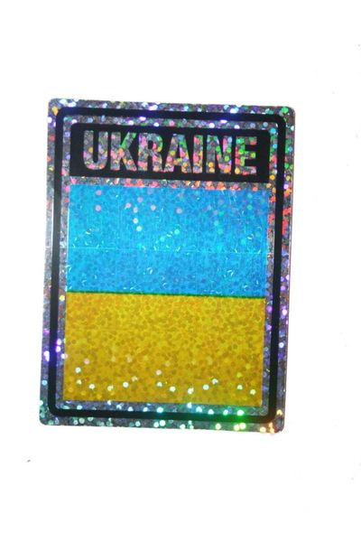 """UKRAINE SQUARE COUNTRY FLAG METALLIC BUMPER STICKER DECAL .. 4"""" X 3"""" INCHES .. HIGH QUALITY ..NEW AND IN A PACKAGE"""