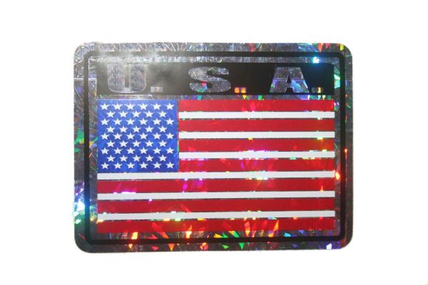 """USA SQUARE COUNTRY FLAG METALLIC BUMPER STICKER DECAL .. 4"""" X 3"""" INCHES .. HIGH QUALITY ..NEW AND IN A PACKAGE"""