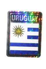 "URUGUAY SQUARE COUNTRY FLAG METALLIC BUMPER STICKER DECAL .. 4"" X 3"" INCHES .. HIGH QUALITY ..NEW AND IN A PACKAGE"