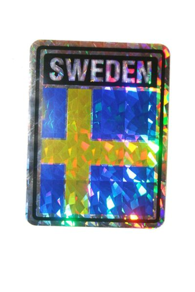 "SWEDEN SQUARE COUNTRY FLAG METALLIC BUMPER STICKER DECAL .. 4"" X 3"" INCHES .. HIGH QUALITY ..NEW AND IN A PACKAGE"