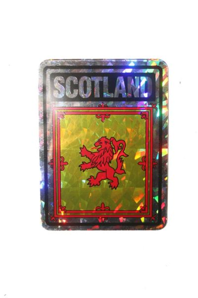 """SCOTLAND RAMPANT LION SQUARE COUNTRY FLAG METALLIC BUMPER STICKER DECAL .. 4"""" X 3"""" INCHES .. HIGH QUALITY ..NEW AND IN A PACKAGE"""