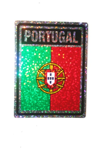 """PORTUGAL SQUARE COUNTRY FLAG METALLIC BUMPER STICKER DECAL .. 4"""" X 3"""" INCHES .. HIGH QUALITY ..NEW AND IN A PACKAGE"""