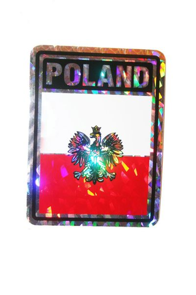 """POLAND WITH EAGLE SQUARE COUNTRY FLAG METALLIC BUMPER STICKER DECAL .. 4"""" X 3"""" INCHES .. HIGH QUALITY ..NEW AND IN A PACKAGE"""