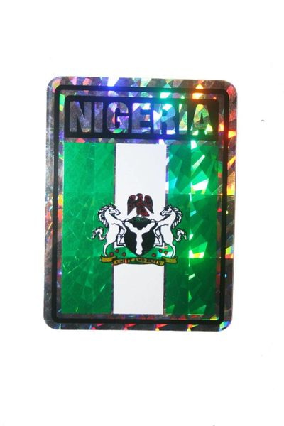 "NIGERIA SQUARE COUNTRY FLAG METALLIC BUMPER STICKER DECAL .. 4"" X 3"" INCHES .. HIGH QUALITY ..NEW AND IN A PACKAGE"