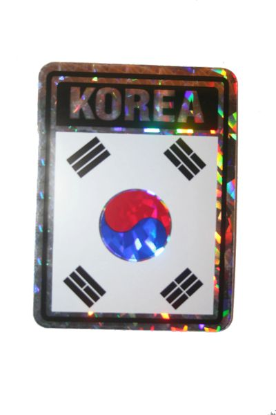 "SOUTH KOREA SQUARE COUNTRY FLAG METALLIC BUMPER STICKER DECAL .. 4"" X 3"" INCHES .. HIGH QUALITY ..NEW AND IN A PACKAGE"