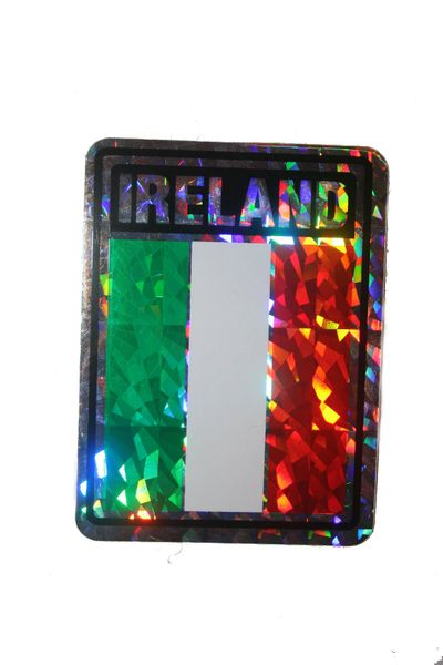 "IRELAND SQUARE COUNTRY FLAG METALLIC BUMPER STICKER DECAL .. 4"" X 3"" INCHES .. HIGH QUALITY ..NEW AND IN A PACKAGE"