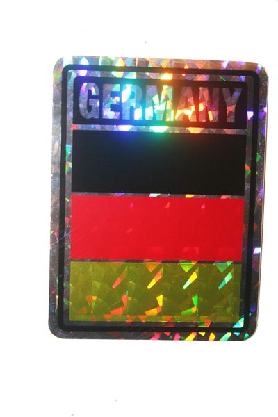 "GERMANY SQUARE COUNTRY FLAG METALLIC BUMPER STICKER DECAL .. 4"" X 3"" INCHES .. HIGH QUALITY ..NEW AND IN A PACKAGE"