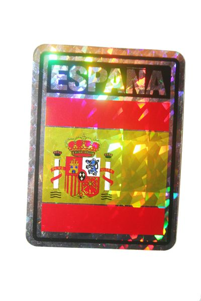 "ESPANA SPAIN SQUARE COUNTRY FLAG METALLIC BUMPER STICKER DECAL .. 4"" X 3"" INCHES .. HIGH QUALITY ..NEW AND IN A PACKAGE"
