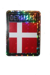 """DENMARK SQUARE COUNTRY FLAG METALLIC BUMPER STICKER DECAL .. 4"""" X 3"""" INCHES .. HIGH QUALITY ..NEW AND IN A PACKAGE"""