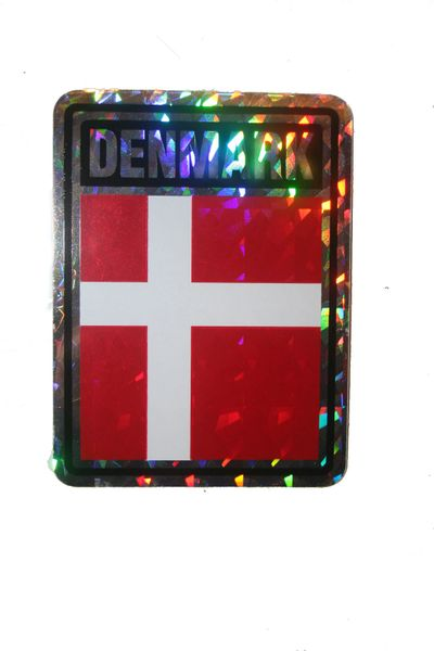 "DENMARK SQUARE COUNTRY FLAG METALLIC BUMPER STICKER DECAL .. 4"" X 3"" INCHES .. HIGH QUALITY ..NEW AND IN A PACKAGE"