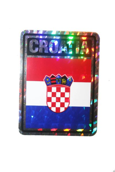 """CROATIA SQUARE COUNTRY FLAG METALLIC BUMPER STICKER DECAL .. 4"""" X 3"""" INCHES .. HIGH QUALITY ..NEW AND IN A PACKAGE"""