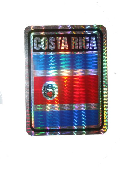 """COSTA RICA SQUARE COUNTRY FLAG METALLIC BUMPER STICKER DECAL .. 4"""" X 3"""" INCHES .. HIGH QUALITY ..NEW AND IN A PACKAGE"""