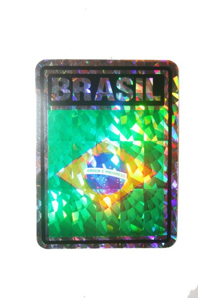 "BRASIL SQUARE COUNTRY FLAG METALLIC BUMPER STICKER DECAL .. 4"" X 3"" INCHES .. HIGH QUALITY ..NEW AND IN A PACKAGE"