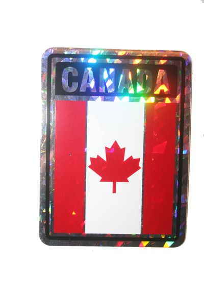 """CANADA SQUARE COUNTRY FLAG METALLIC BUMPER STICKER DECAL .. 4"""" X 3"""" INCHES .. HIGH QUALITY ..NEW AND IN A PACKAGE"""