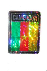 """CAMEROON SQUARE COUNTRY FLAG METALLIC BUMPER STICKER DECAL .. 4"""" X 3"""" INCHES .. HIGH QUALITY ..NEW AND IN A PACKAGE"""