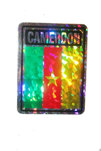 "CAMEROON SQUARE COUNTRY FLAG METALLIC BUMPER STICKER DECAL .. 4"" X 3"" INCHES .. HIGH QUALITY ..NEW AND IN A PACKAGE"