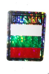 """BULGARIA SQUARE COUNTRY FLAG METALLIC BUMPER STICKER DECAL .. 4"""" X 3"""" INCHES .. HIGH QUALITY ..NEW AND IN A PACKAGE"""