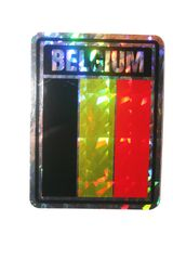 "BELGIUM SQUARE COUNTRY FLAG METALLIC BUMPER STICKER DECAL .. 4"" X 3"" INCHES .. HIGH QUALITY ..NEW AND IN A PACKAGE"