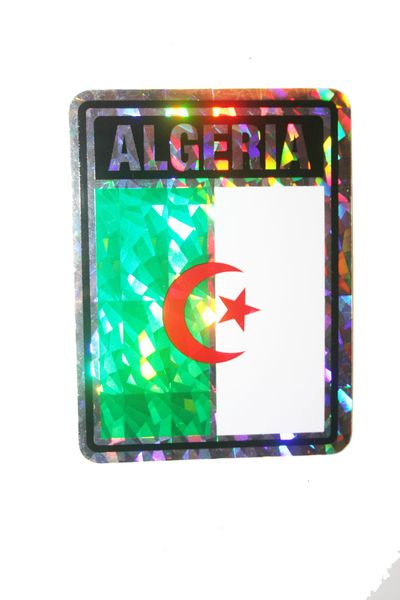 "ALGERIA SQUARE COUNTRY FLAG METALLIC BUMPER STICKER DECAL .. 4"" X 3"" INCHES .. HIGH QUALITY ..NEW AND IN A PACKAGE"