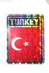"TURKEY SQUARE COUNTRY FLAG METALLIC BUMPER STICKER DECAL .. 4"" X 3"" INCHES .. HIGH QUALITY ..NEW AND IN A PACKAGE"