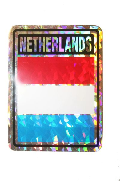 """NETHERLANDS SQUARE COUNTRY FLAG METALLIC BUMPER STICKER DECAL .. 4"""" X 3"""" INCHES .. HIGH QUALITY ..NEW AND IN A PACKAGE"""