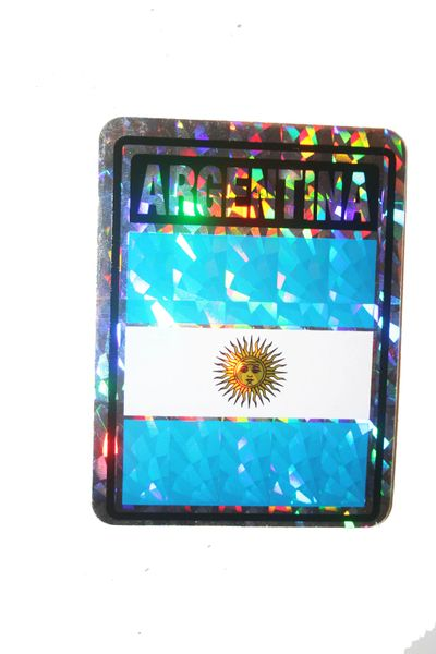 "ARGENTINA SQUARE COUNTRY FLAG METALLIC BUMPER STICKER DECAL .. 4"" X 3"" INCHES .. HIGH QUALITY ..NEW AND IN A PACKAGE"