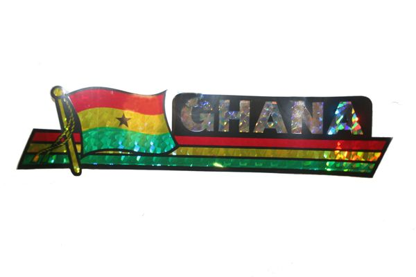 """GHANA LONG COUNTRY FLAG METALLIC BUMPER STICKER DECAL .. 11 3/4"""" X 3"""" INCHES .. HIGH QUALITY ..NEW AND IN A PACKAGE"""
