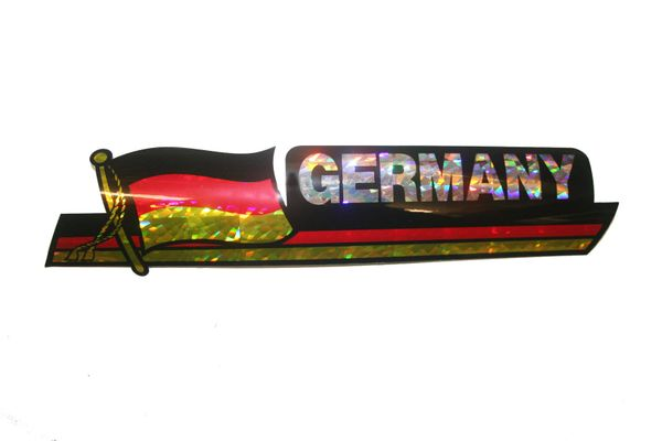 """GERMANY LONG COUNTRY FLAG METALLIC BUMPER STICKER DECAL .. 11 3/4"""" X 3"""" INCHES .. HIGH QUALITY ..NEW AND IN A PACKAGE"""